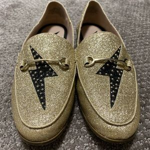 Nine West gold glitter loafers